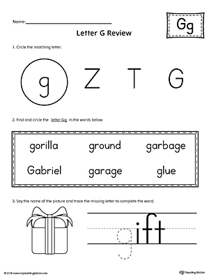 Learning the Letter G Worksheet