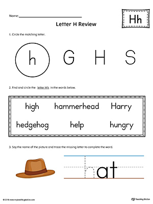 Learning the Letter H Worksheet (Color)