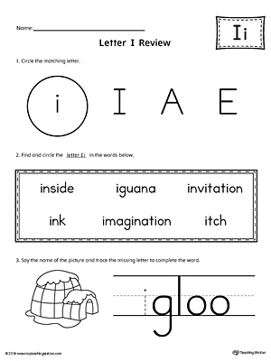 Learning the Letter I Worksheet