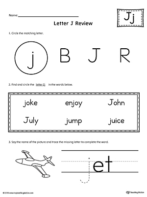 Learning the Letter J Worksheet