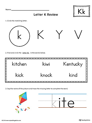 Learning the Letter K Worksheet (Color)