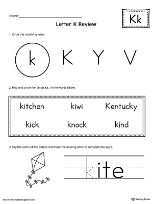 Learning the Letter K Worksheet | MyTeachingStation.com
