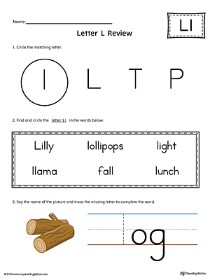 Learning the Letter L Worksheet (Color)