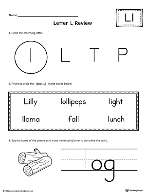 Learning the Letter L Worksheet