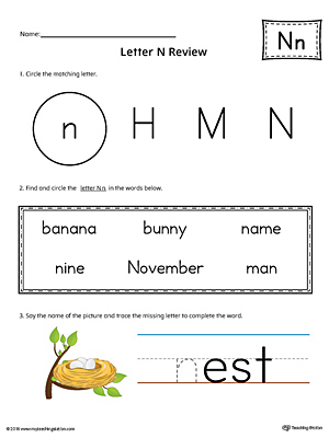Learning the Letter N Worksheet (Color)