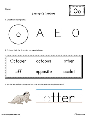 Learning the Letter O Worksheet (Color)