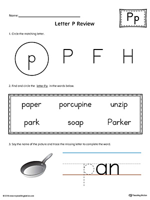 Learning the Letter P Worksheet (Color)