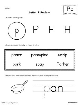 Learning the Letter P Worksheet