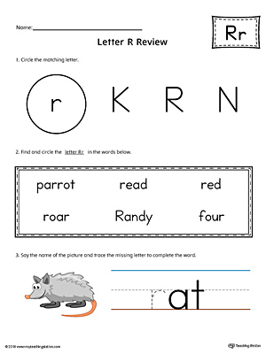 Learning the Letter R Worksheet (Color)