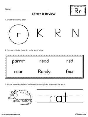 Learning the Letter R Worksheet