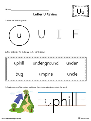 Learning the Letter U Worksheet (Color)