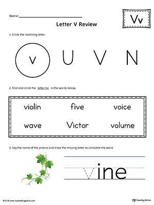 Learning the Letter V Worksheet (Color)