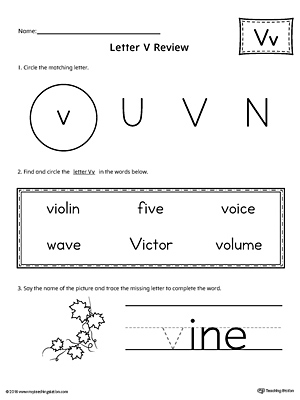 Learning the Letter V Worksheet