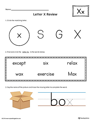 Learning the Letter X Worksheet (Color)