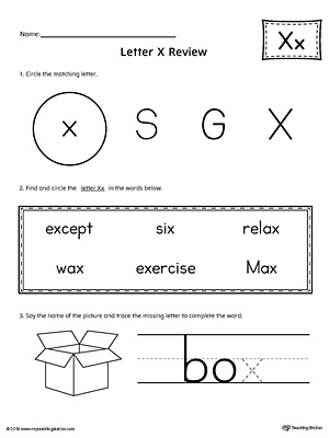 Learning the Letter X Worksheet