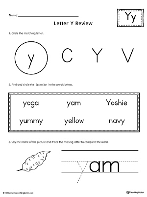 Learning the Letter Y Worksheet