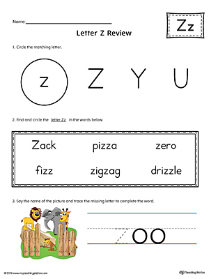 Learning the Letter Z Worksheet (Color)