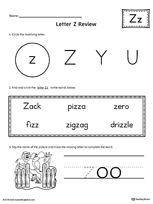 learning the letter z worksheet. Black Bedroom Furniture Sets. Home Design Ideas