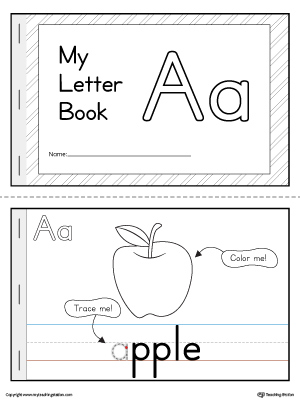 Letter a mini book printable for Printable alphabet book template