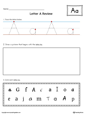 Use the Letter A Practice Worksheet to help your student identify and trace the letter A along with recognizing it