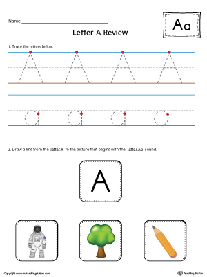 Letter A Review Worksheet (Color)