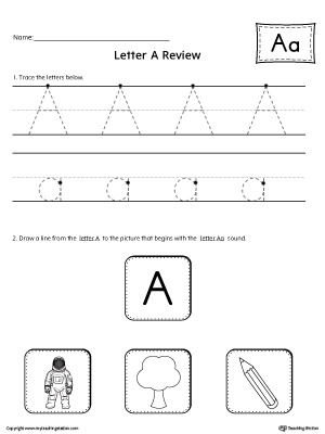 Letter A Review Worksheet
