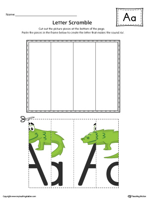 Letter A Scramble Worksheet (Color)