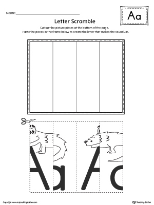 Use the Letter A Scramble printable worksheet to aid your student in recognizing the letter A and it