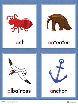 Letter A Words and Pictures Printable Cards: Ant, Anteater, Albatross, Anchor (Color)