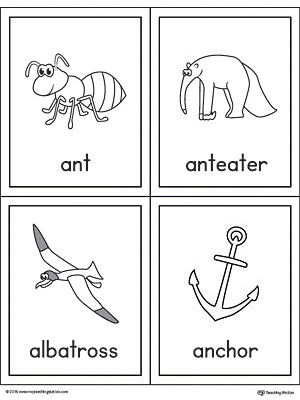 Letter A Words and Pictures Printable Cards: Ant, Anteater, Albatross, Anchor