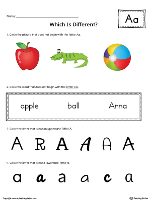 Use the Letter A Which is Different in Color to practice identifying the uppercase and lowercase letter A and it