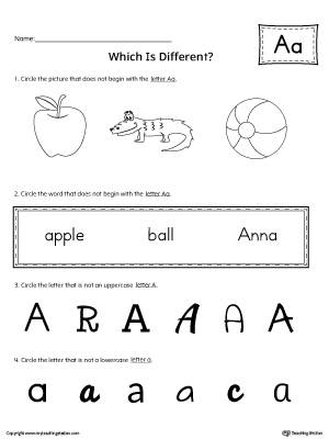 Letter A Which is Different Worksheet