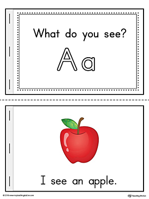 Letter-A-Words-Printable-Mini-Book-Color Printable Lowercase Letter D Template on matching uppercase, templates free, for toddlers, tracing worksheets, alphabet flashcards, alphabet bubble,