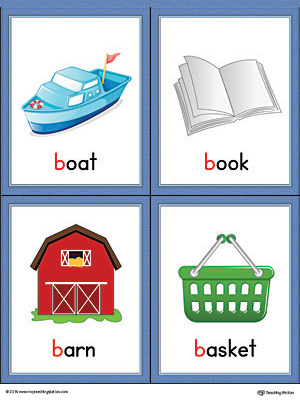 Printable Beginning sound vocabulary cards for letter B includes the words boat, book, barn, and basket.