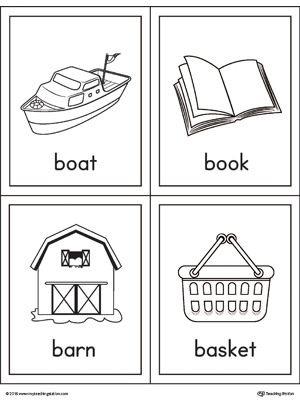 Beginning sound vocabulary cards for letter B includes the words boat, book, barn, and basket.