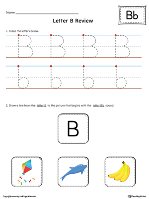 Letter B Review Worksheet (Color)