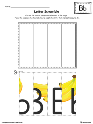 Letter B Scramble Worksheet (Color)