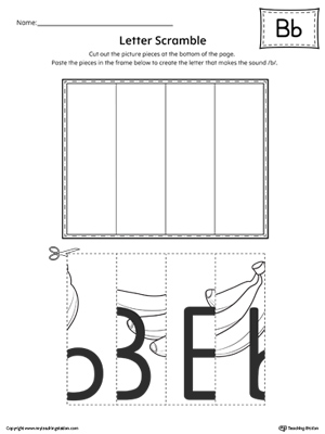 Use the Letter B Scramble printable worksheet to aid your student in recognizing the letter B and it