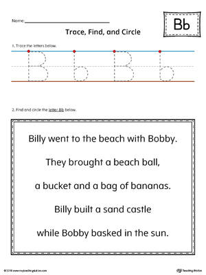 Letter B Trace, Find and Circle Printable Worksheet