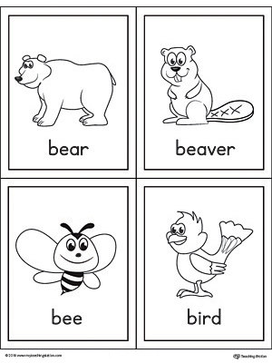 Letter B Words and Pictures Printable Cards: Bear, Beaver ...