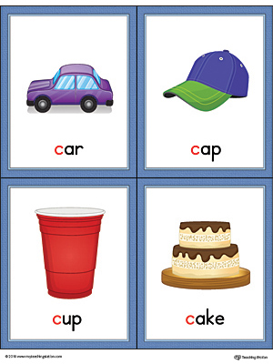 Letter C Words and Pictures Printable Cards: Car, Cap, Cup, Cake (Color)