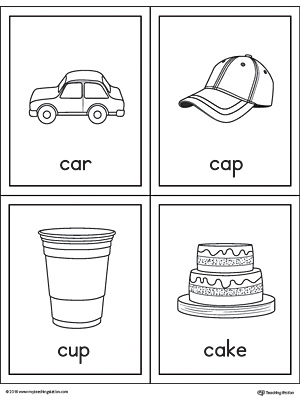 Letter C Words and Pictures Printable Cards: Car, Cap, Cup, Cake