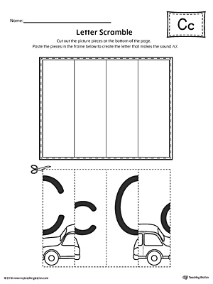 Use the Letter C Scramble printable worksheet to aid your student in recognizing the letter C and it