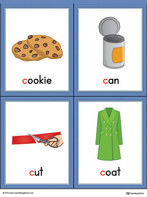 Letter C Words and Pictures Printable Cards: Cookie, Can, Cut, Coat (Color)