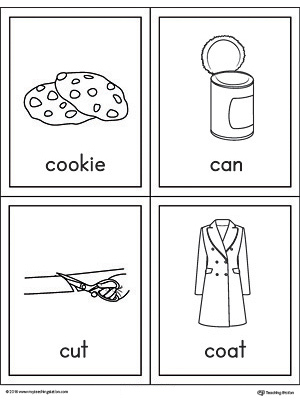Letter C Words and Pictures Printable Cards: Cookie, Can, Cut, Coat