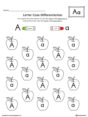 Letter Case Recognition Worksheet: Letter A