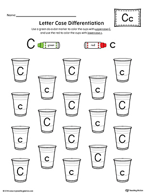 Letter Case Recognition Worksheet: Letter C