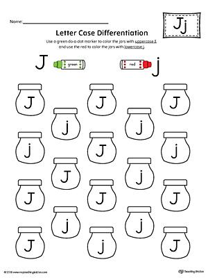 Letter Case Recognition Worksheet: Letter J