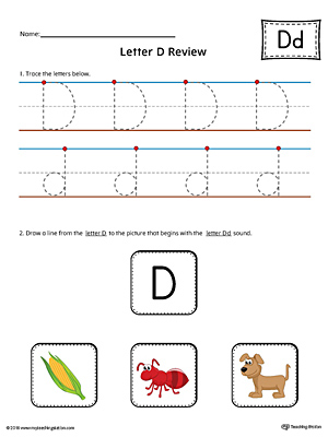 Letter D Review Worksheet (Color)