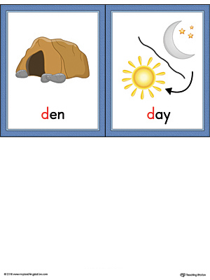 Letter D Words and Printable Cards Den Day Color